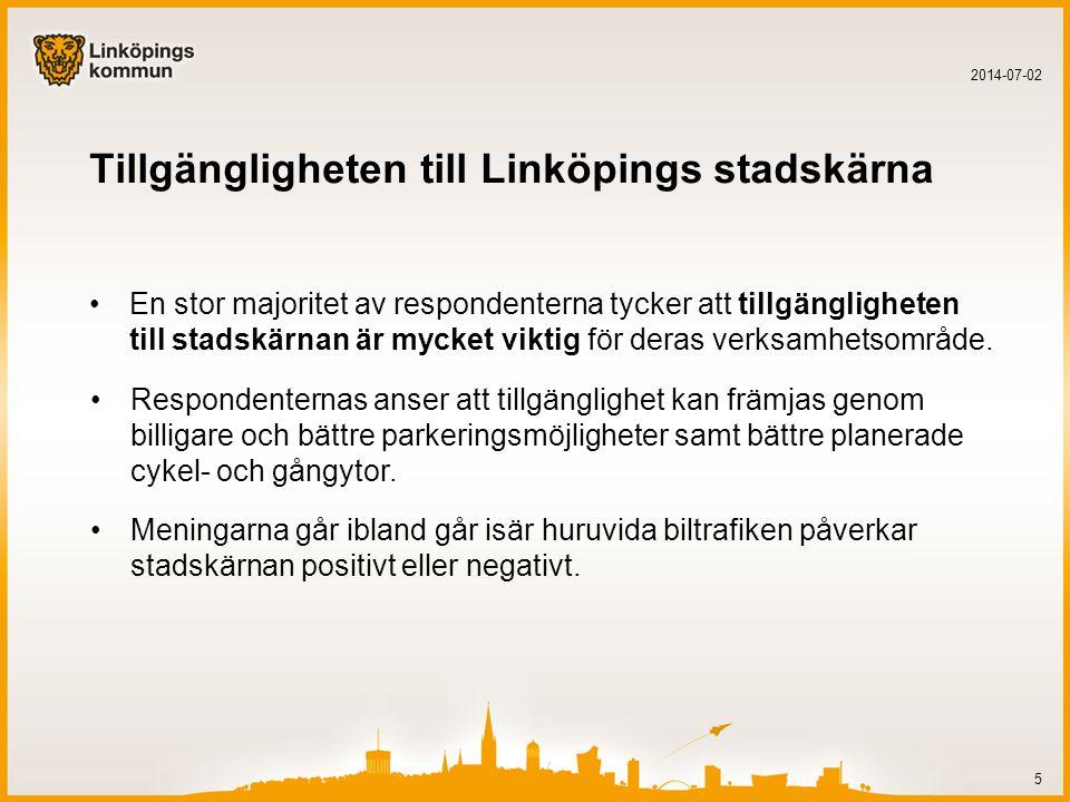 Tillgängligheten till Linköpings stadskärna •En stor majoritet av respondenterna tycker att tillgängligheten till stadskärnan är mycket viktig för deras verksamhetsområde.