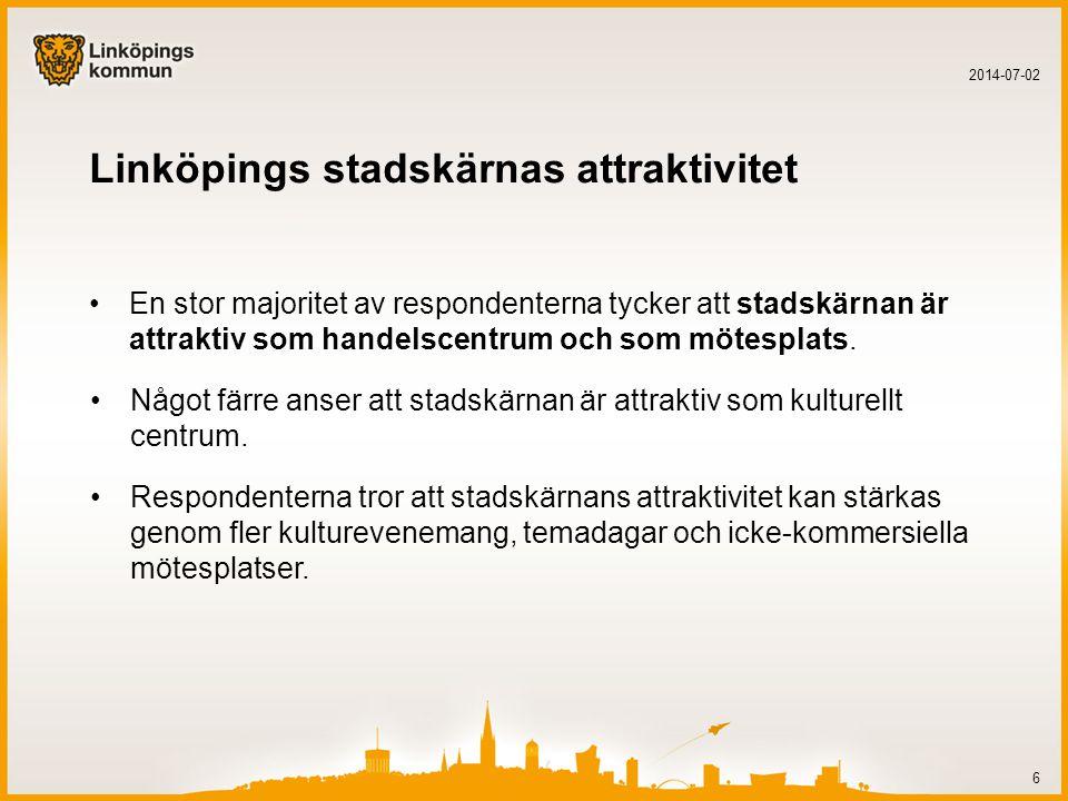 Linköpings stadskärnas attraktivitet •En stor majoritet av respondenterna tycker att stadskärnan är attraktiv som handelscentrum och som mötesplats.