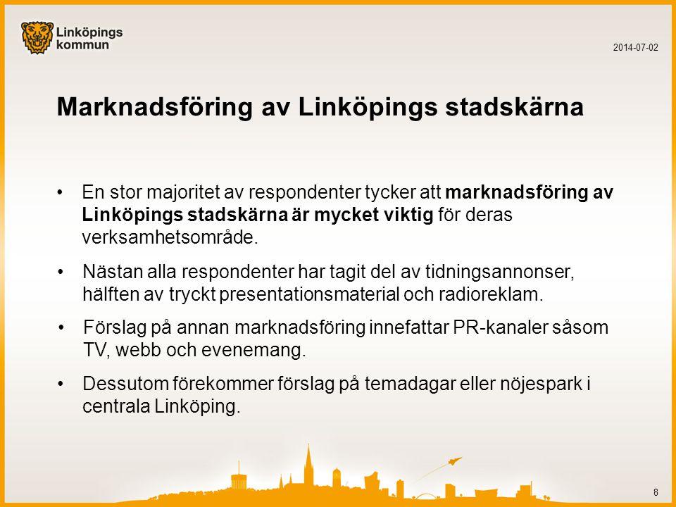 Marknadsföring av Linköpings stadskärna •En stor majoritet av respondenter tycker att marknadsföring av Linköpings stadskärna är mycket viktig för deras verksamhetsområde.