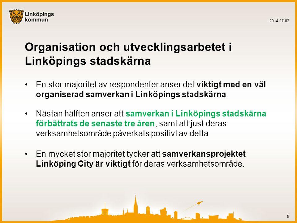 Organisation och utvecklingsarbetet i Linköpings stadskärna •En stor majoritet av respondenter anser det viktigt med en väl organiserad samverkan i Linköpings stadskärna.