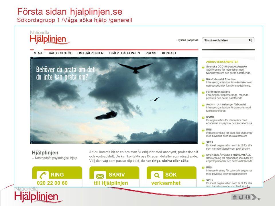 16 Första sidan hjalplinjen.se Sökordsgrupp 1 /Våga söka hjälp /generell