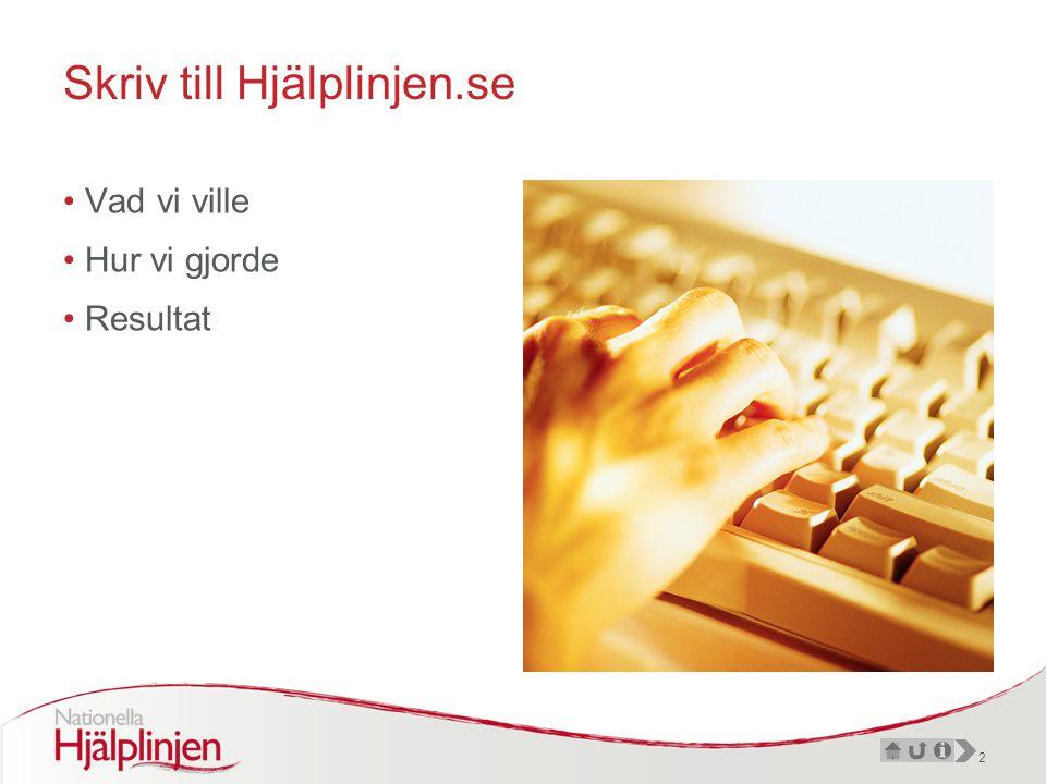 2 Skriv till Hjälplinjen.se •Vad vi ville •Hur vi gjorde •Resultat