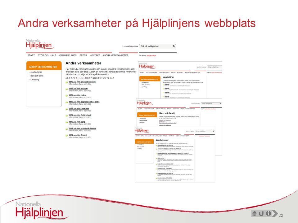 22 Andra verksamheter på Hjälplinjens webbplats