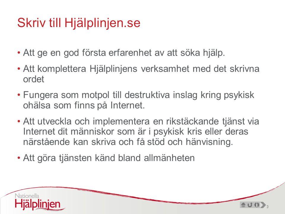 3 Skriv till Hjälplinjen.se •Att ge en god första erfarenhet av att söka hjälp.