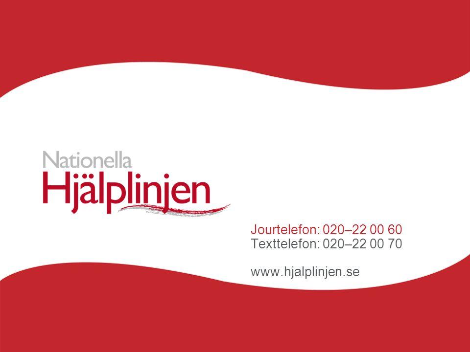 Jourtelefon: 020–22 00 60 Texttelefon: 020–22 00 70 www.hjalplinjen.se