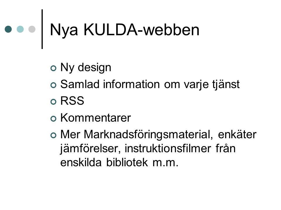 Nya KULDA-webben Ny design Samlad information om varje tjänst RSS Kommentarer Mer Marknadsföringsmaterial, enkäter jämförelser, instruktionsfilmer från enskilda bibliotek m.m.