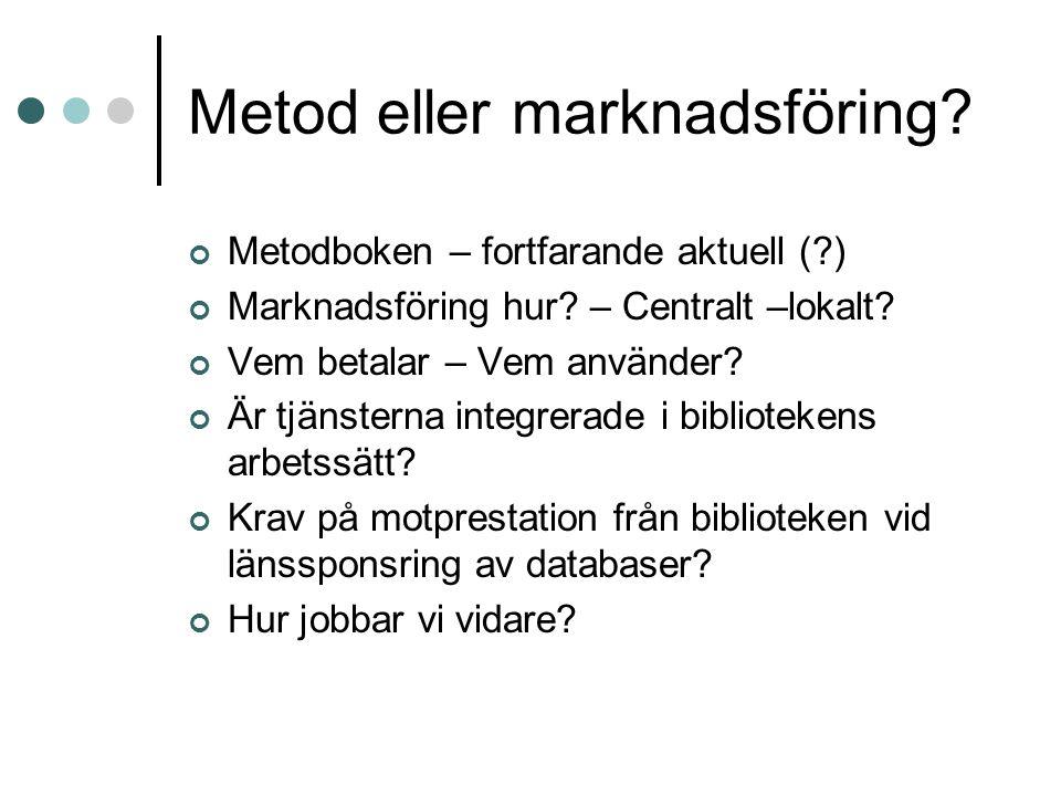 Metod eller marknadsföring. Metodboken – fortfarande aktuell ( ) Marknadsföring hur.