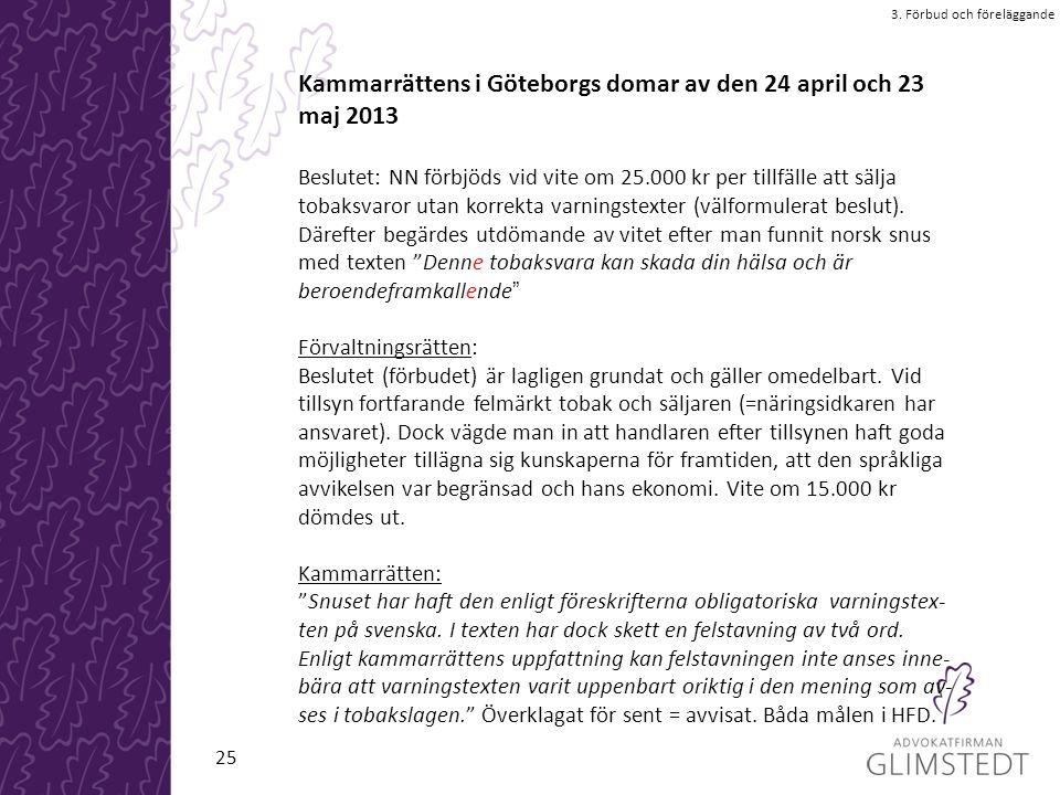 Kammarrättens i Göteborgs domar av den 24 april och 23 maj 2013 Beslutet: NN förbjöds vid vite om 25.000 kr per tillfälle att sälja tobaksvaror utan korrekta varningstexter (välformulerat beslut).