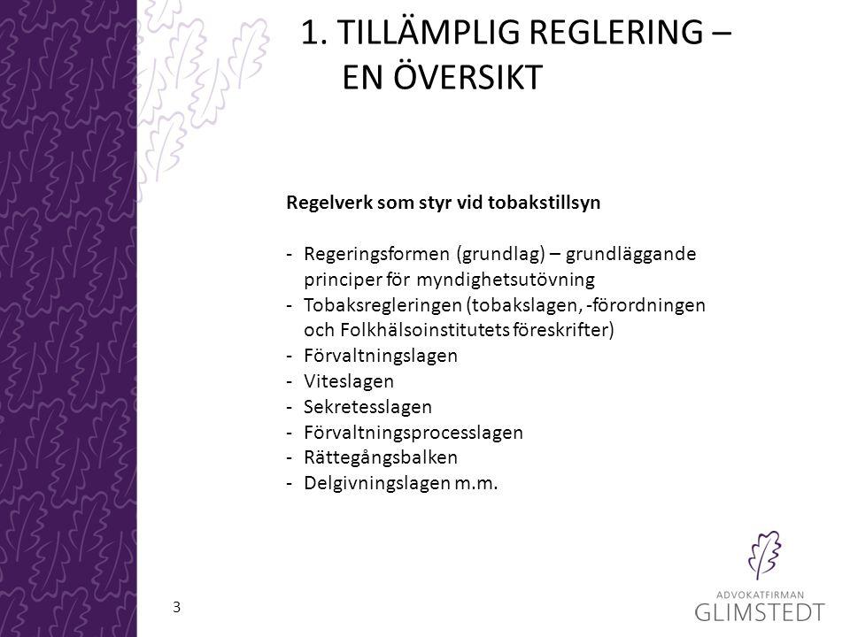 1. TILLÄMPLIG REGLERING – EN ÖVERSIKT Regelverk som styr vid tobakstillsyn -Regeringsformen (grundlag) – grundläggande principer för myndighetsutövnin