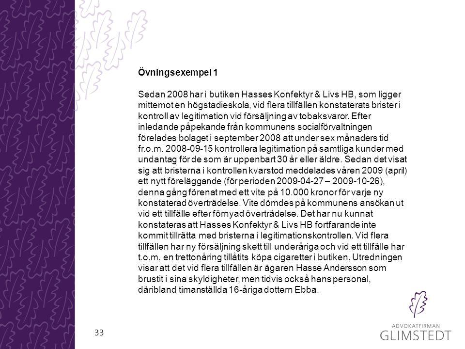 33 Övningsexempel 1 Sedan 2008 har i butiken Hasses Konfektyr & Livs HB, som ligger mittemot en högstadieskola, vid flera tillfällen konstaterats brister i kontroll av legitimation vid försäljning av tobaksvaror.