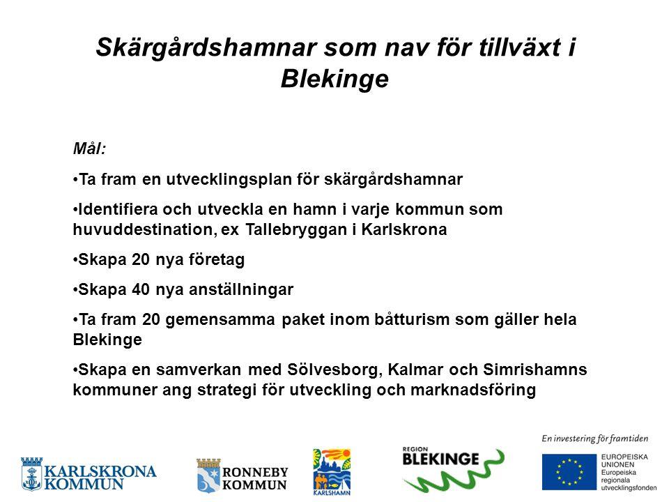 Skärgårdshamnar som nav för tillväxt i Blekinge Mål: •Ta fram en utvecklingsplan för skärgårdshamnar •Identifiera och utveckla en hamn i varje kommun