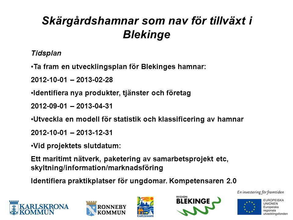 Skärgårdshamnar som nav för tillväxt i Blekinge Tidsplan •Ta fram en utvecklingsplan för Blekinges hamnar: 2012-10-01 – 2013-02-28 •Identifiera nya pr