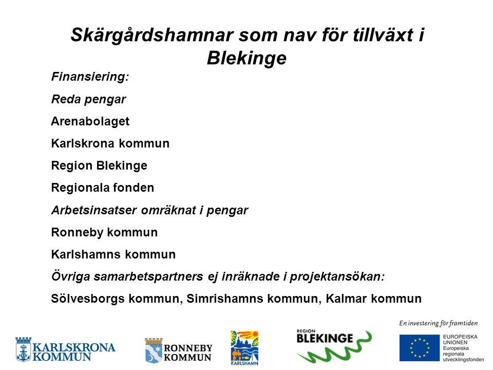 Finansiering: Reda pengar Arenabolaget Karlskrona kommun Region Blekinge Regionala fonden Arbetsinsatser omräknat i pengar Ronneby kommun Karlshamns k