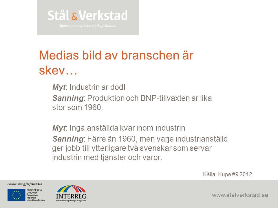 www.stalverkstad.se Medias bild av branschen är skev… Myt: Industrin är död! Sanning: Produktion och BNP-tillväxten är lika stor som 1960. Myt: Inga a