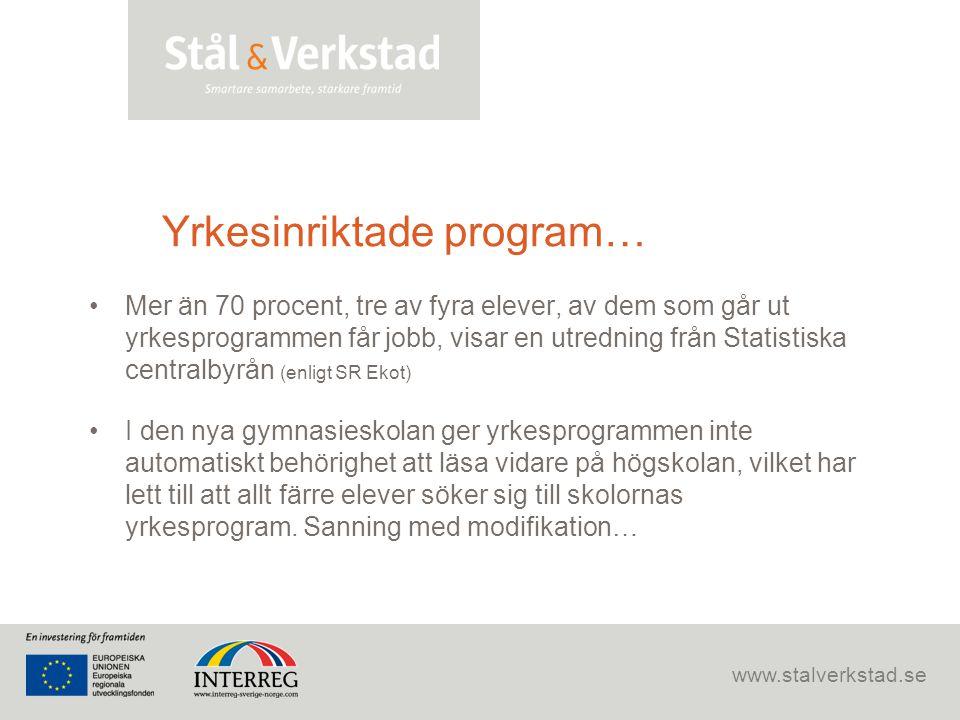 www.stalverkstad.se Yrkesinriktade program… •Mer än 70 procent, tre av fyra elever, av dem som går ut yrkesprogrammen får jobb, visar en utredning frå