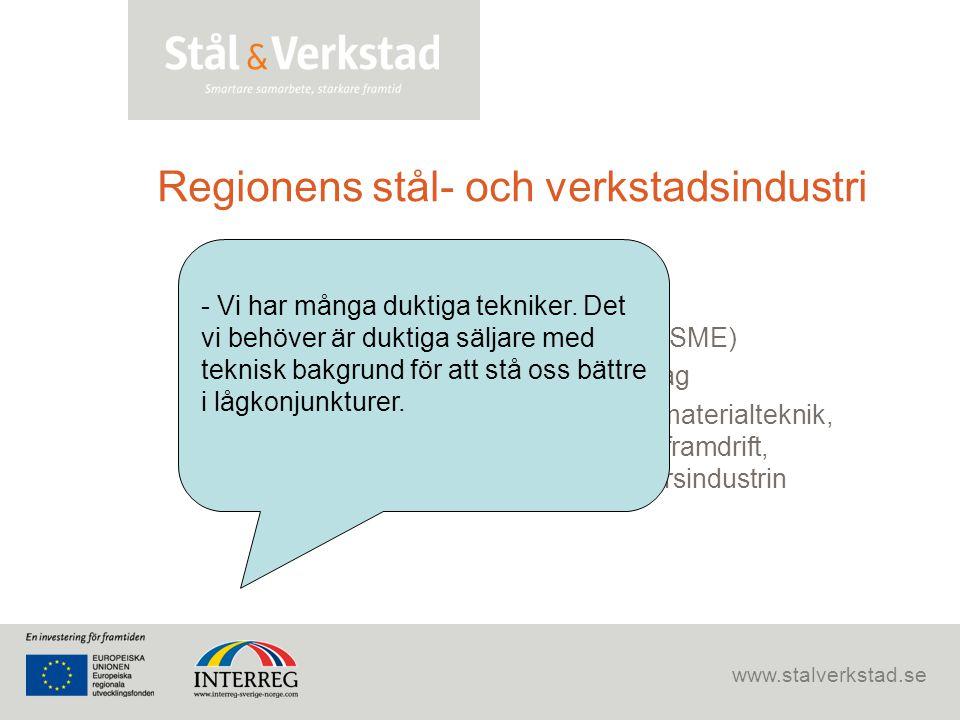 www.stalverkstad.se Regionens stål- och verkstadsindustri •350 år •Komplett värdekedja •70 % är små och medelstora företag (SME) •Fler än 15 000 anstä