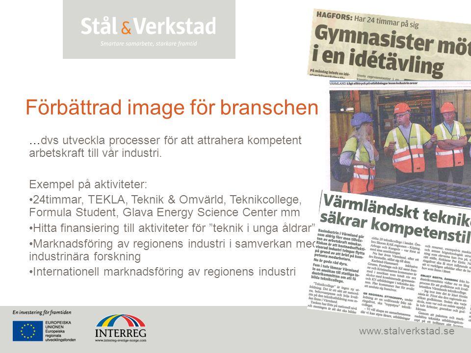www.stalverkstad.se Förbättrad image för branschen …dvs utveckla processer för att attrahera kompetent arbetskraft till vår industri. Exempel på aktiv