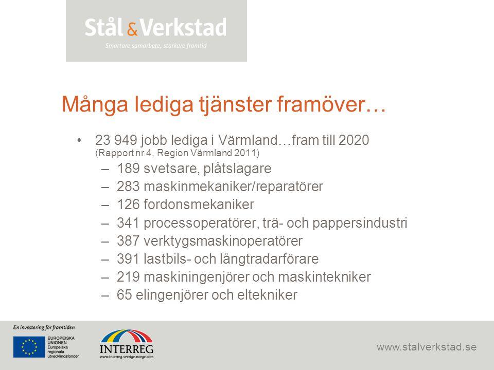 www.stalverkstad.se Många lediga tjänster framöver… •23 949 jobb lediga i Värmland…fram till 2020 (Rapport nr 4, Region Värmland 2011) –189 svetsare,