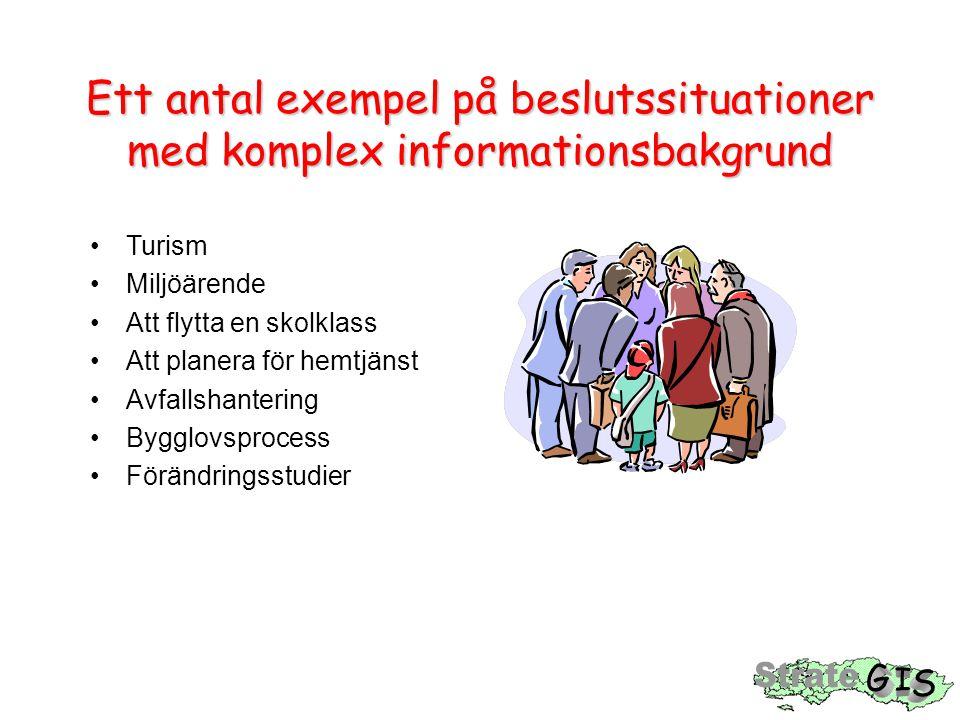 Ett antal exempel på beslutssituationer med komplex informationsbakgrund •Turism •Miljöärende •Att flytta en skolklass •Att planera för hemtjänst •Avfallshantering •Bygglovsprocess •Förändringsstudier