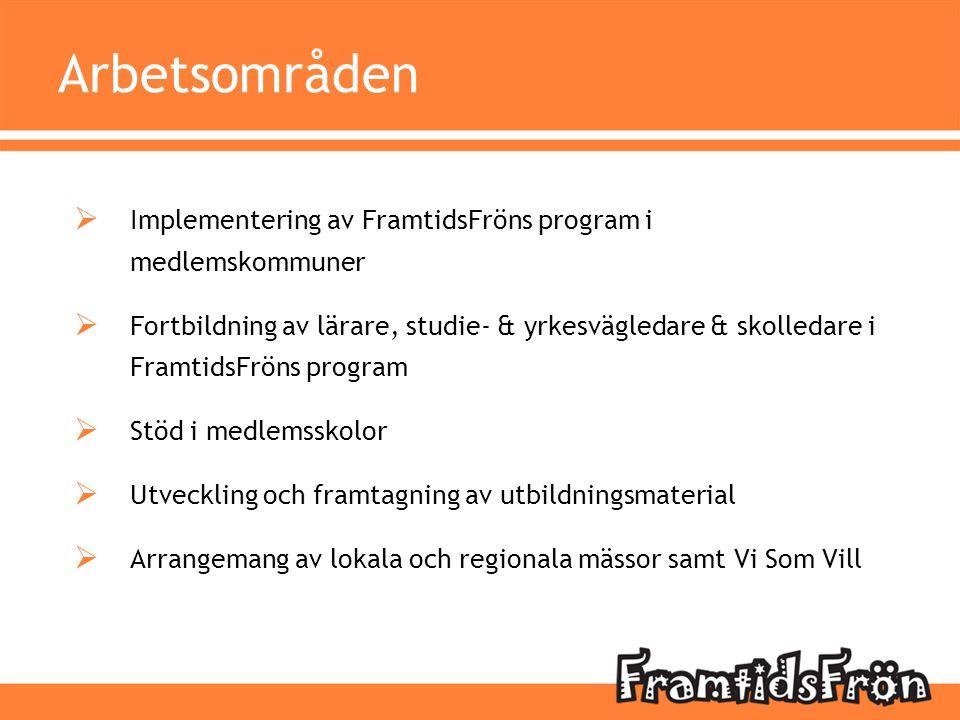 Arbetsområden  Implementering av FramtidsFröns program i medlemskommuner  Fortbildning av lärare, studie- & yrkesvägledare & skolledare i FramtidsFr