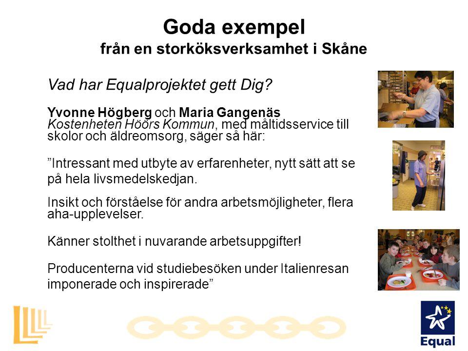 Goda exempel från en storköksverksamhet i Skåne Vad har Equalprojektet gett Dig? Yvonne Högberg och Maria Gangenäs Kostenheten Höörs Kommun, med målti