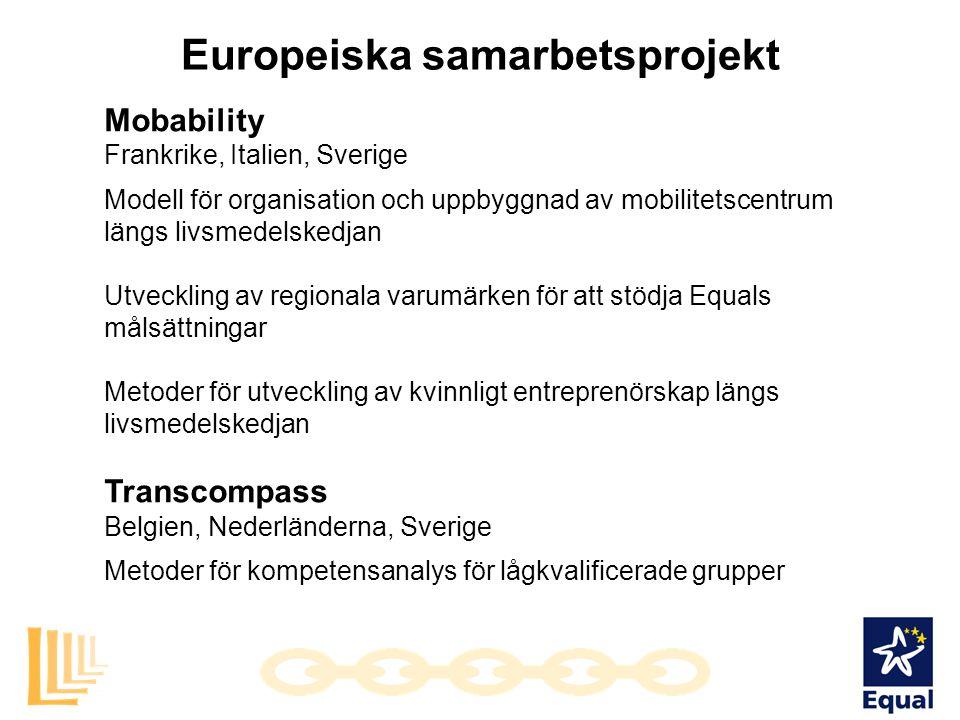 Europeiska samarbetsprojekt Mobability Frankrike, Italien, Sverige Modell för organisation och uppbyggnad av mobilitetscentrum längs livsmedelskedjan