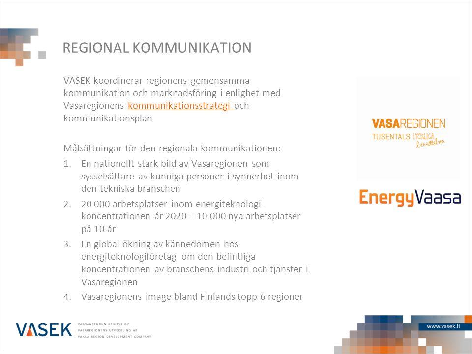 REGIONAL KOMMUNIKATION VASEK koordinerar regionens gemensamma kommunikation och marknadsföring i enlighet med Vasaregionens kommunikationsstrategi och