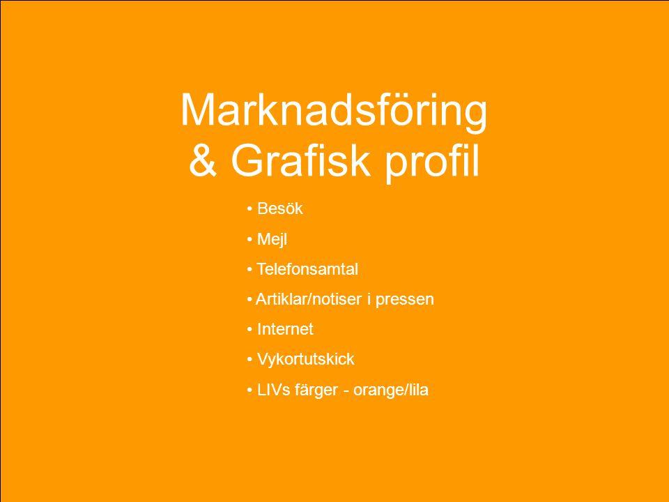 Marknadsföring & Grafisk profil • Besök • Mejl • Telefonsamtal • Artiklar/notiser i pressen • Internet • Vykortutskick • LIVs färger - orange/lila