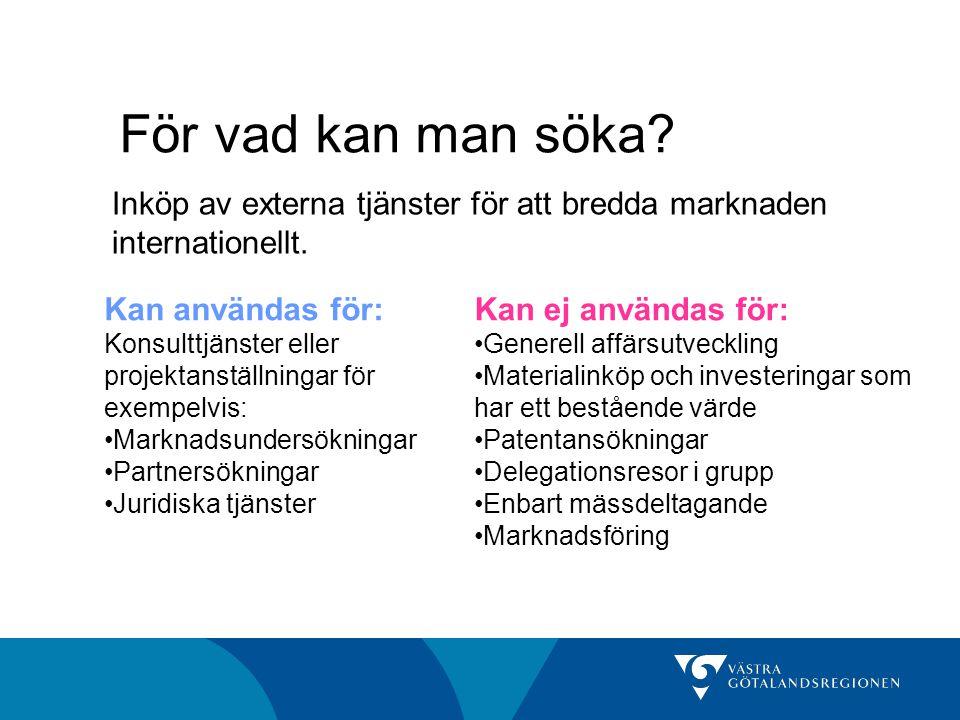 För vad kan man söka. Inköp av externa tjänster för att bredda marknaden internationellt.
