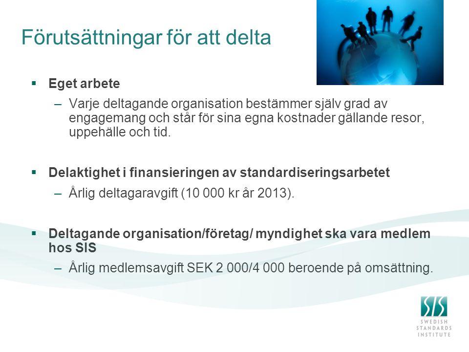 Förutsättningar för att delta  Eget arbete –Varje deltagande organisation bestämmer själv grad av engagemang och står för sina egna kostnader gälland