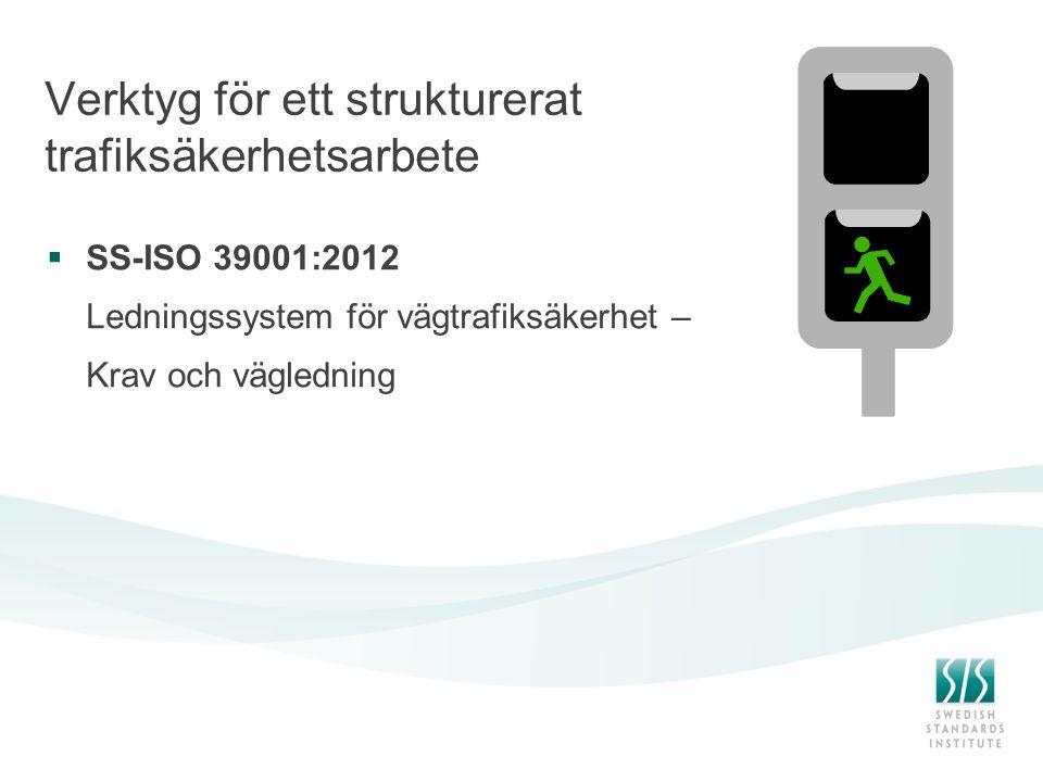 Verktyg för ett strukturerat trafiksäkerhetsarbete  SS-ISO 39001:2012 Ledningssystem för vägtrafiksäkerhet – Krav och vägledning
