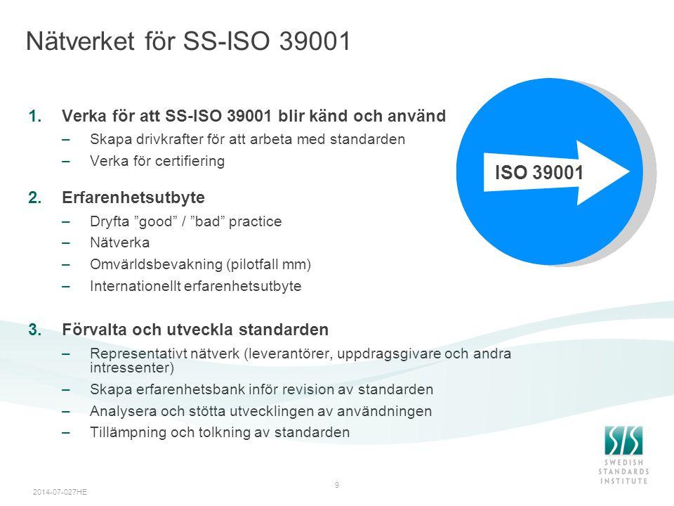 2014-07-027HE 9 Nätverket för SS-ISO 39001 1.Verka för att SS-ISO 39001 blir känd och använd –Skapa drivkrafter för att arbeta med standarden –Verka f