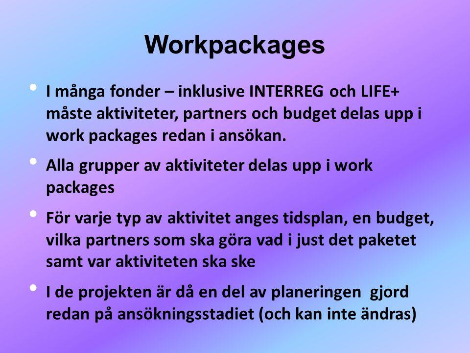 Workpackages • I många fonder – inklusive INTERREG och LIFE+ måste aktiviteter, partners och budget delas upp i work packages redan i ansökan. • Alla