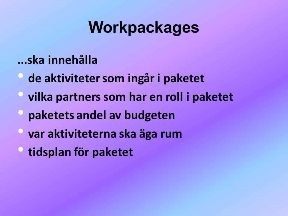 Workpackages...ska innehålla • de aktiviteter som ingår i paketet • vilka partners som har en roll i paketet • paketets andel av budgeten • var aktiviteterna ska äga rum • tidsplan för paketet