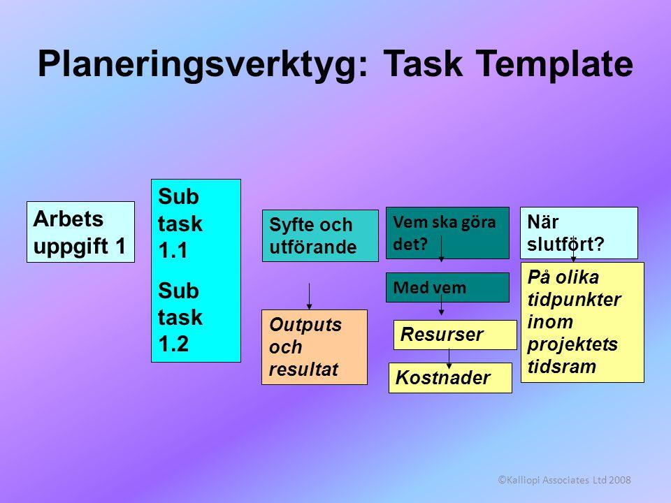 ©Kalliopi Associates Ltd 2008 Planeringsverktyg: Task Template Arbets uppgift 1 Sub task 1.1 Sub task 1.2 Syfte och utförande Kostnader På olika tidpunkter inom projektets tidsram Outputs och resultat Vem ska göra det.