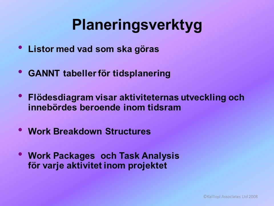 ©Kalliopi Associates Ltd 2008 Planeringsverktyg • Listor med vad som ska göras • GANNT tabeller för tidsplanering • Flödesdiagram visar aktiviteternas
