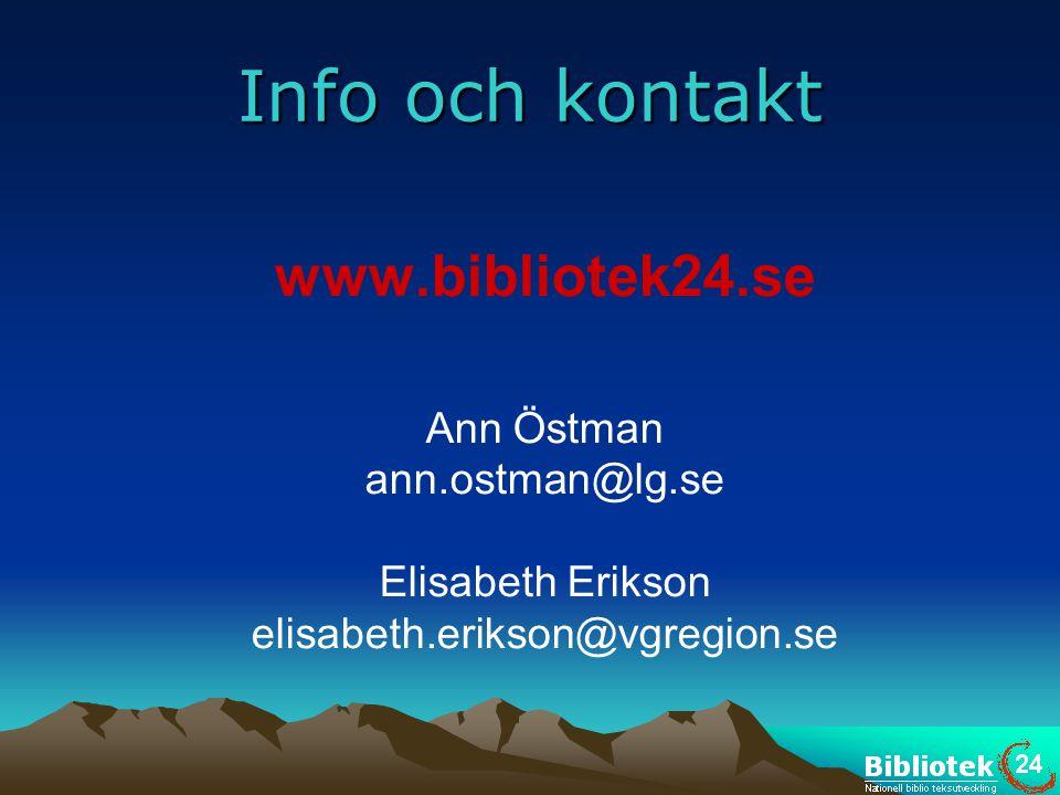 Info och kontakt www.bibliotek24.se Ann Östman ann.ostman@lg.se Elisabeth Erikson elisabeth.erikson@vgregion.se