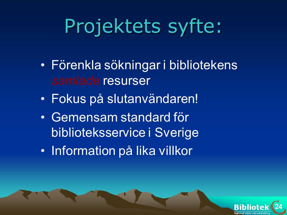 Projektets syfte: •Förenkla sökningar i bibliotekens samlade resurser •Fokus på slutanvändaren! •Gemensam standard för biblioteksservice i Sverige •In