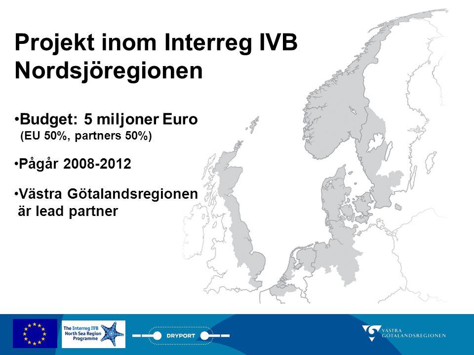 Projekt inom Interreg IVB Nordsjöregionen •Budget: 5 miljoner Euro (EU 50%, partners 50%) •Pågår 2008-2012 •Västra Götalandsregionen är lead partner