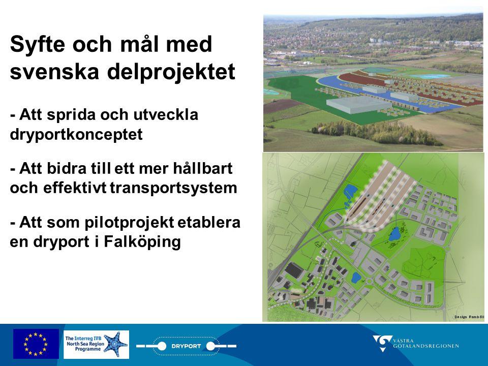 Syfte och mål med svenska delprojektet - Att sprida och utveckla dryportkonceptet - Att bidra till ett mer hållbart och effektivt transportsystem - At