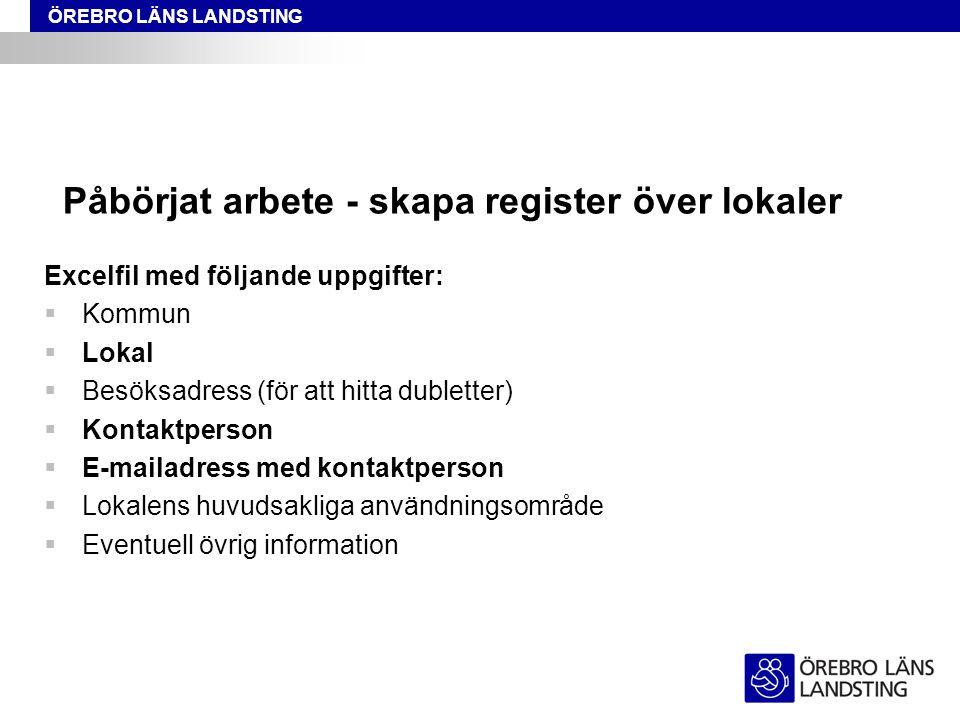 ÖREBRO LÄNS LANDSTING Förstudien.