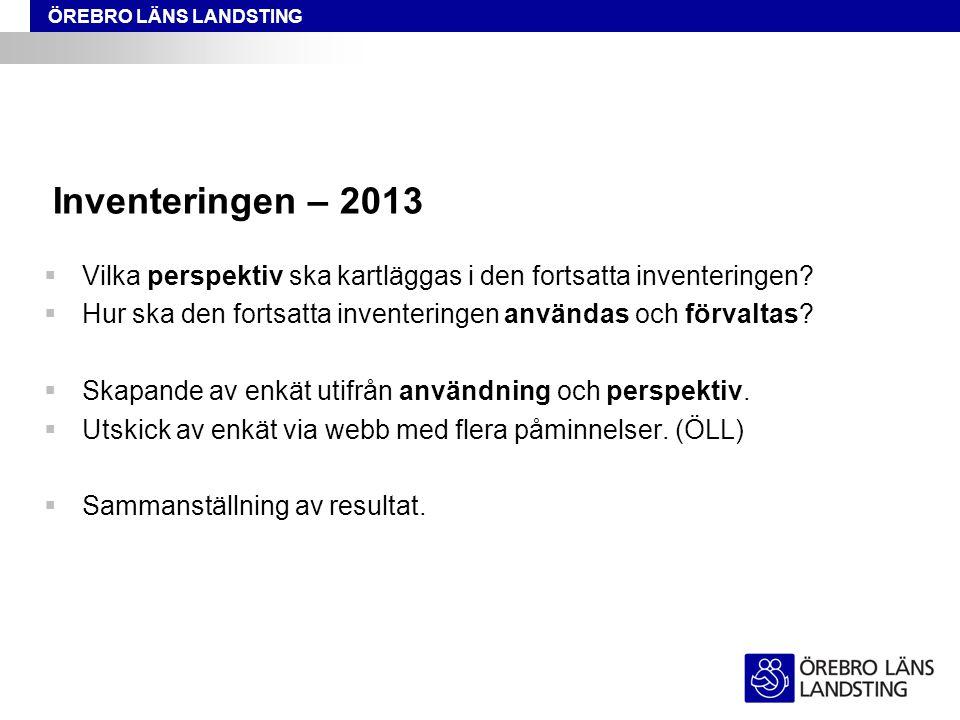ÖREBRO LÄNS LANDSTING Inventeringen – 2013  Vilka perspektiv ska kartläggas i den fortsatta inventeringen.