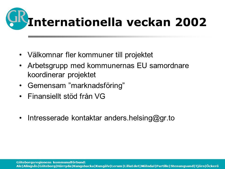 Göteborgsregionens kommunalförbund: Ale|Alingsås|Göteborg|Härryda|Kungsbacka|Kungälv|Lerum|LillaEdet|Mölndal|Partille|Stenungsund|Tjörn|Öckerö Internationella veckan 2002 •Välkomnar fler kommuner till projektet •Arbetsgrupp med kommunernas EU samordnare koordinerar projektet •Gemensam marknadsföring •Finansiellt stöd från VG •Intresserade kontaktar anders.helsing@gr.to