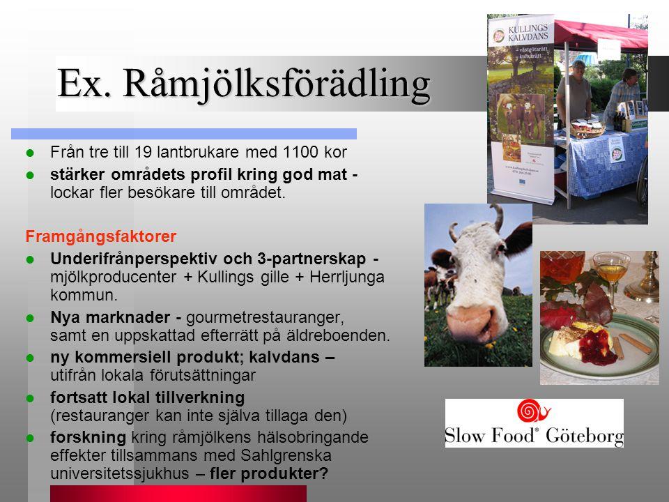 Ex. Råmjölksförädling  Från tre till 19 lantbrukare med 1100 kor  stärker områdets profil kring god mat - lockar fler besökare till området. Framgån
