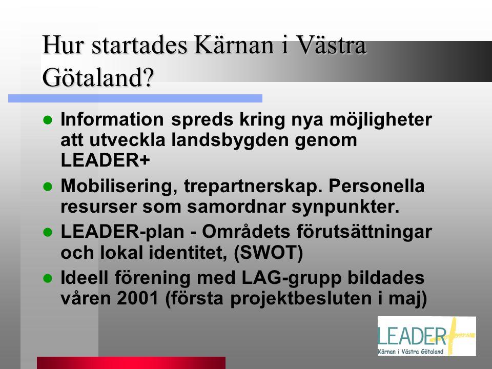 Hur startades Kärnan i Västra Götaland?  Information spreds kring nya möjligheter att utveckla landsbygden genom LEADER+  Mobilisering, trepartnersk