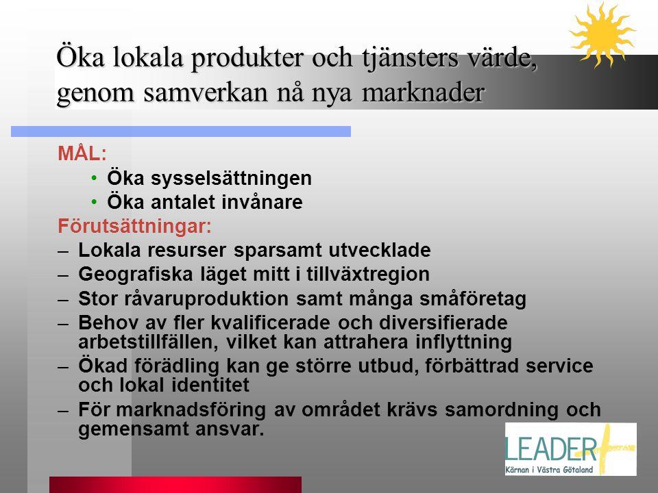 Öka lokala produkter och tjänsters värde, genom samverkan nå nya marknader MÅL: •Öka sysselsättningen •Öka antalet invånare Förutsättningar: –Lokala r