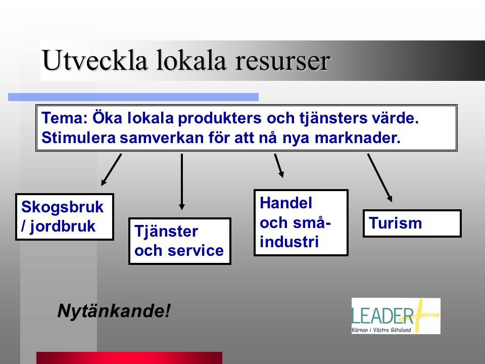Utveckla lokala resurser Nytänkande! Tema: Öka lokala produkters och tjänsters värde. Stimulera samverkan för att nå nya marknader. Skogsbruk / jordbr