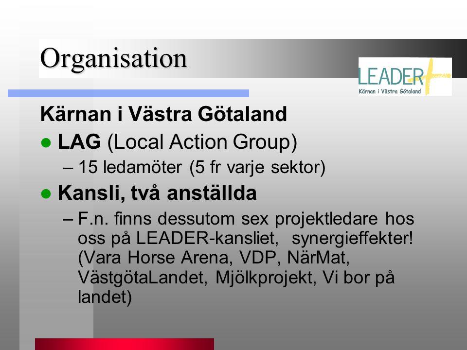 Organisation Kärnan i Västra Götaland  LAG (Local Action Group) –15 ledamöter (5 fr varje sektor)  Kansli, två anställda –F.n. finns dessutom sex pr