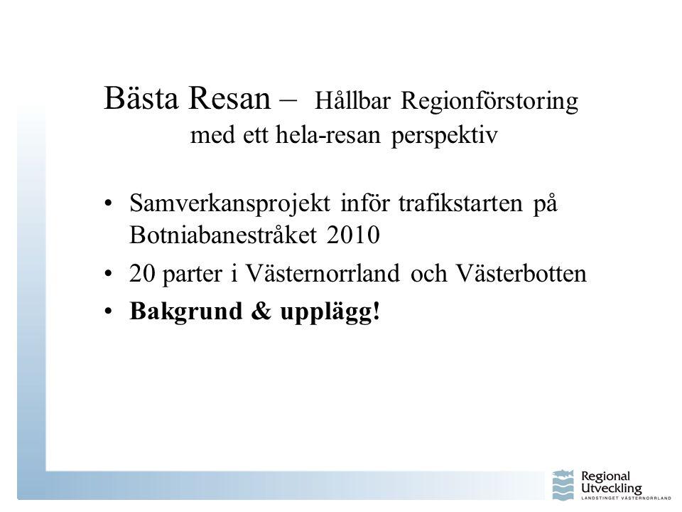 Bästa Resan – Hållbar Regionförstoring med ett hela-resan perspektiv •Samverkansprojekt inför trafikstarten på Botniabanestråket 2010 •20 parter i Väs
