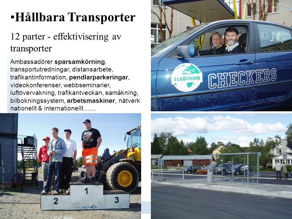 •Hållbara Transporter 12 parter - effektivisering av transporter Ambassadörer sparsamkörning, transportutredningar, distansarbete, trafikantinformatio